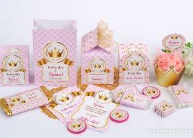 Hermosos kits imprimibles de coronas en dorado y rosa