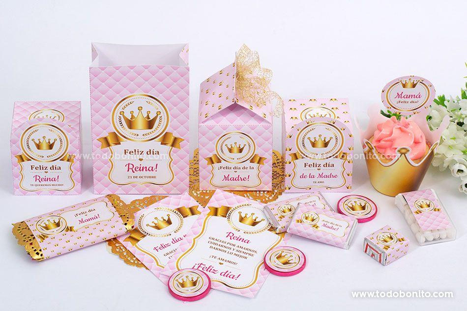 Imprimibles de Coronita en rosa y dorado