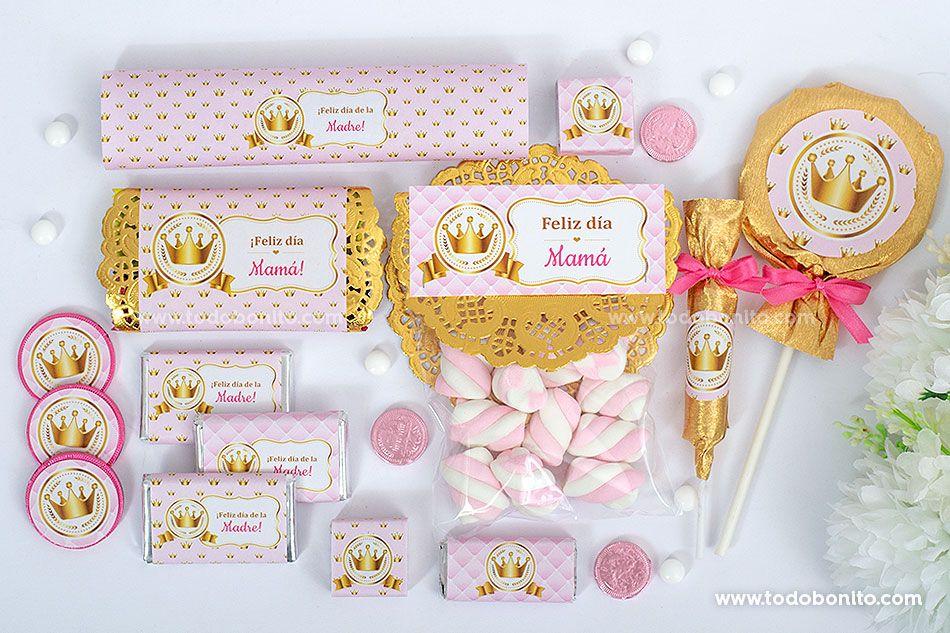 Decoración de Coronita en rosa y dorado para imprimir