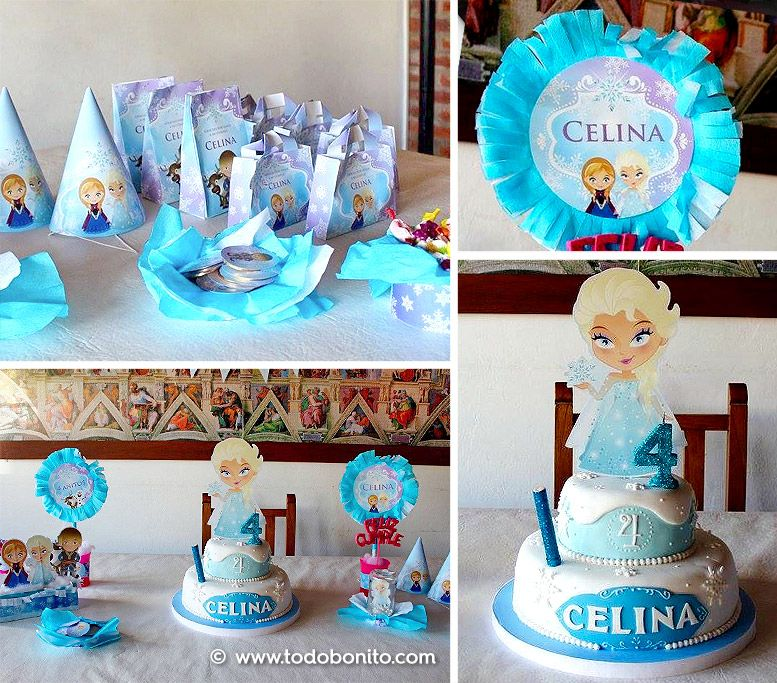 Decoraciones con imágenes del kit Frozen de Todo Bonito