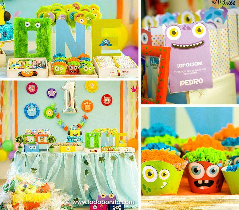Decoraciones imprimibles para cumpleaños con temática de monstruos
