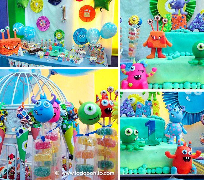 Hermosas decoraciones imprimibles de monstruitos para cumpleaños
