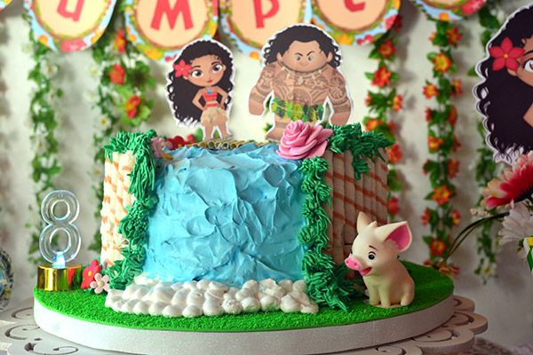 Torta con temática Moana e imprimibles de Todo Bonito