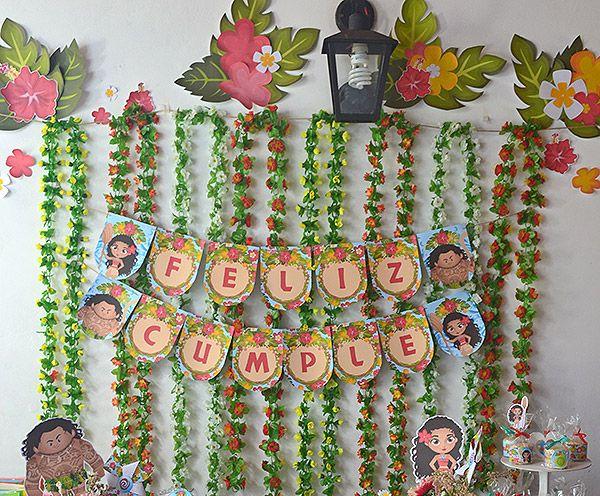Banderín y decoraciones para cumpleaños temáticos de Moana