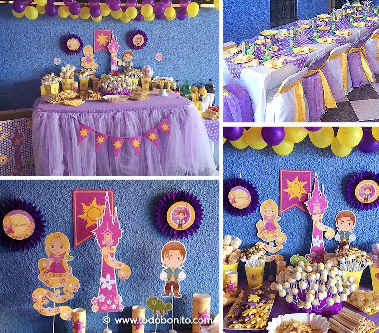 Decoraciones imprimibles de Rapunzel por Todo Bonito