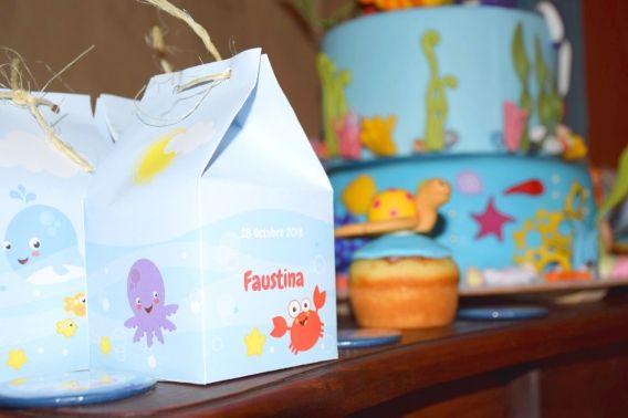 Cajitas Milkbox para eventos con temática animalitos de mar de Todo Bonito