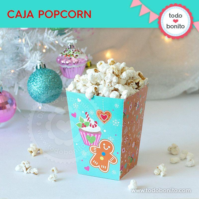 Cajita de popcorn navideña para imprimir por Todo Bonito