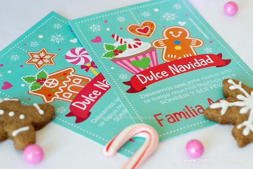 Tarjetas imprimibles de Navidad por Todo Bonito