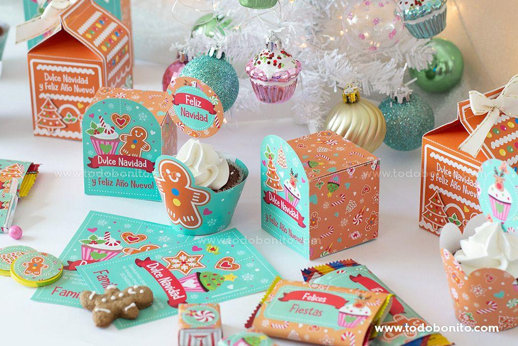 Kit imprimible dulces de Navidad por Todo Bonito