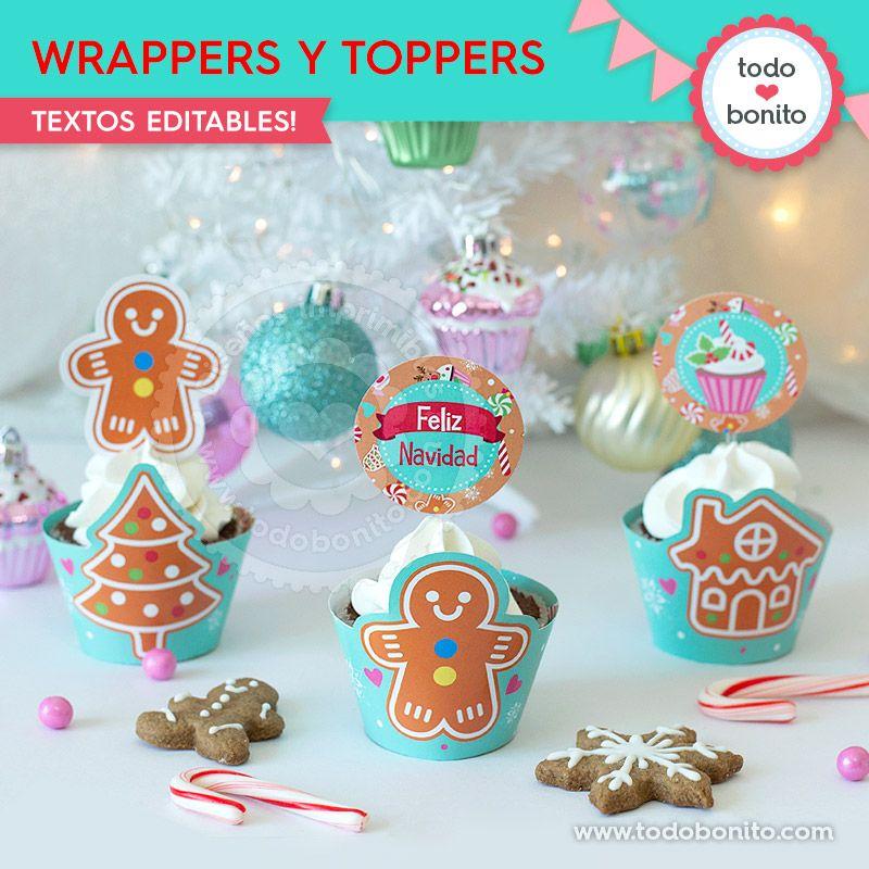 Kit imprimible para cupcakes de Navidad por Todo Bonito
