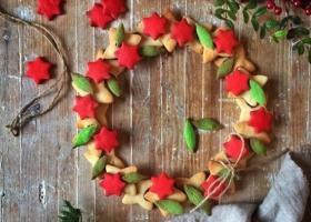 Corona de galletas para Navidad