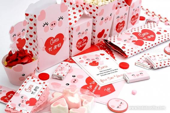 Kits imprimibles de San Valentín con cerditos tiernos por Todo Bonito