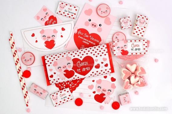 Kits imprimibles de San Valentín con cerditos tiernos