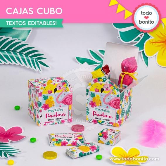 Cajitas para imprimir de Flamencos y Ananá por Todo Bonito