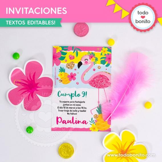 Invitaciones de Flamencos y Ananá por Todo Bonito