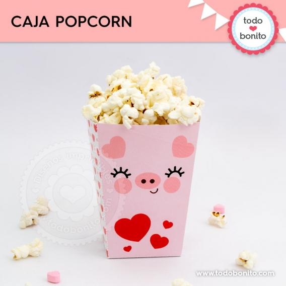 Caja popcorn para imprimir de cerdito por Todo Bonito
