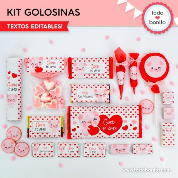 Etiquetas de golosinas de San Valentín por Todo Bonito