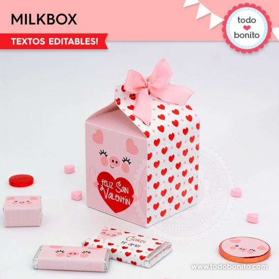 Milkbox cerdito para imprimir por Todo Bonito