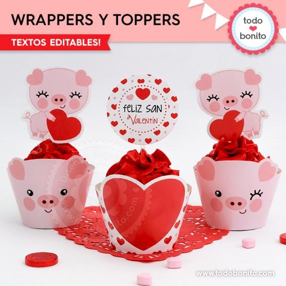 Cupcakes de San Valentín para imprimir por Todo Bonito