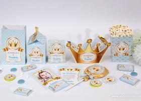 Hermosos kits imprimibles de coronas en dorado y celeste