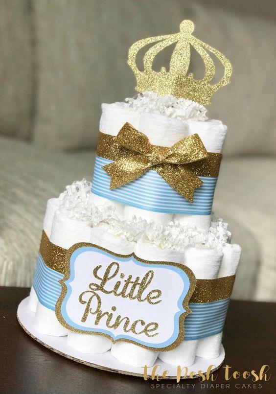 Tematica Para Baby Shower Varon.Tortas Para Una Fiesta De Principe En Dorado Todo Bonito