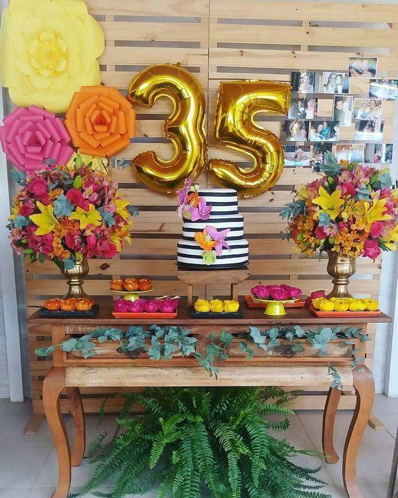 Hermosa decoración de cumpleaños para mujer