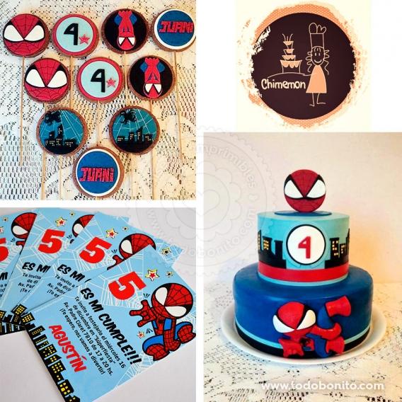 Torta y galletas del Hombre Araña