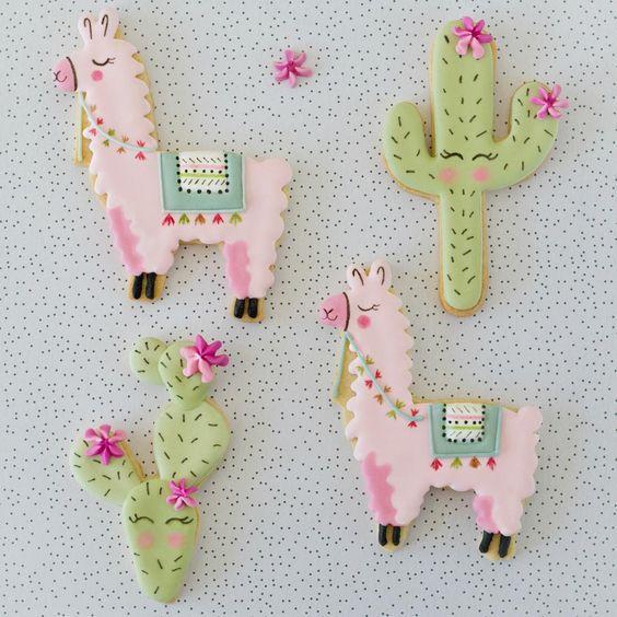 Masita decoradas con llamas y cactus
