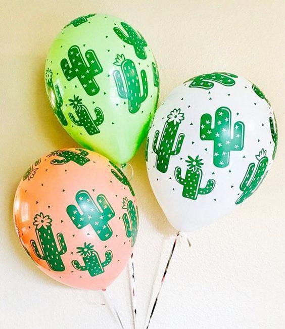 Globos de cactus para fiesta