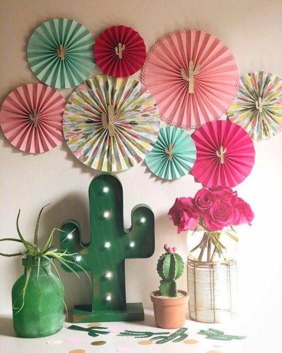 Fondo decorado para fiesta de cactus
