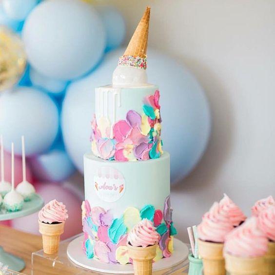 Torta de colortes con helado