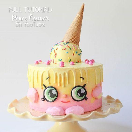 Pastel decorado con ideas de helado