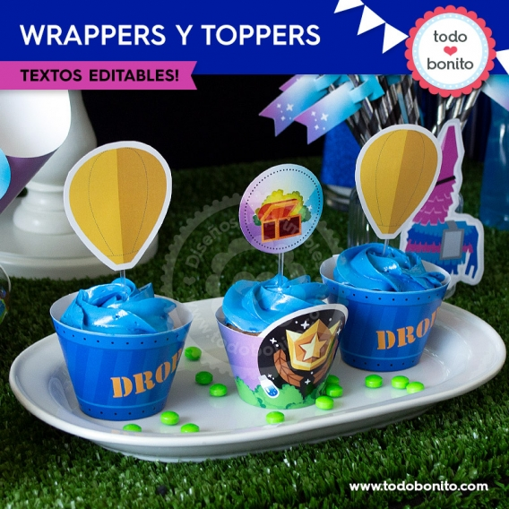 Wrappers y toppers de Fortnite para imprimir