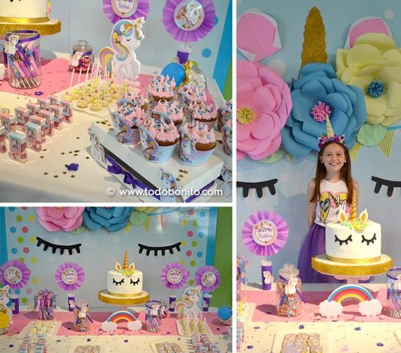 Cumpleaños decorado con diseños de Unicornio de Todo Bonito