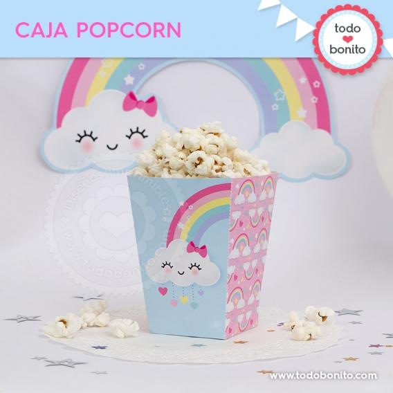 Caja de popcorn nubes y arcoiris para imprimir por Todo Bonito