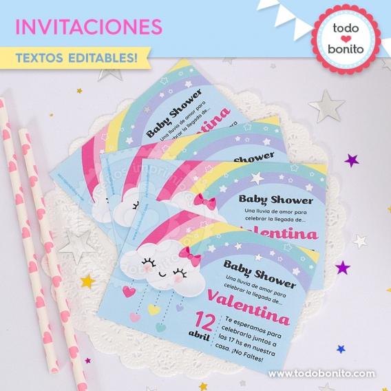Invitaciones para imprimir Lluvia de Amor por Todo Bonito