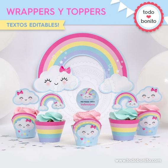 Wrappers y toppers de nubes y arcoiris por Todo Bonito