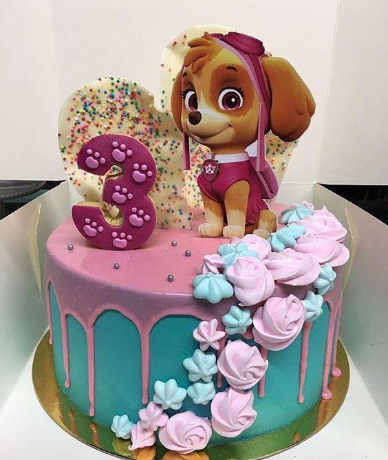 Torta para nenas de Paw Patrol con Skye