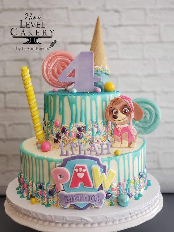 Torta de cumpleaños con Paw Patrol para nenas