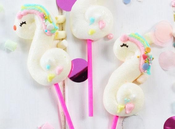 Merengues de unicornios y arcoíris