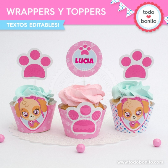 Wrappers y toppers para cupcakes Skye Paw Patrol