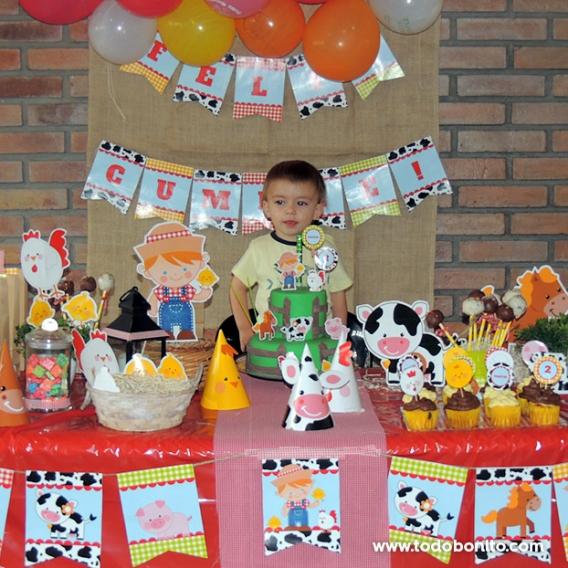 Decoración cumpleaños animales de la granja