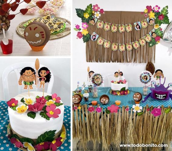 Decoraciones imprimibles de Moana para cumpleaños