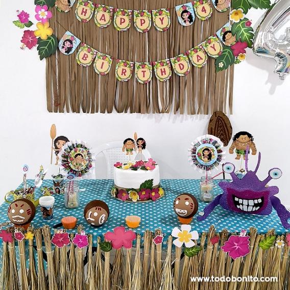 Hermosas decoraciones imprimibles de Moana de Todo Bonito