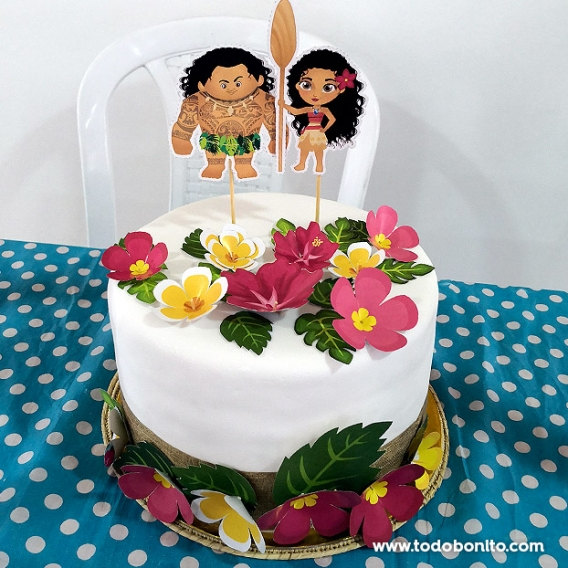 Torta con temática Moana con imprimibles de Todo Bonito