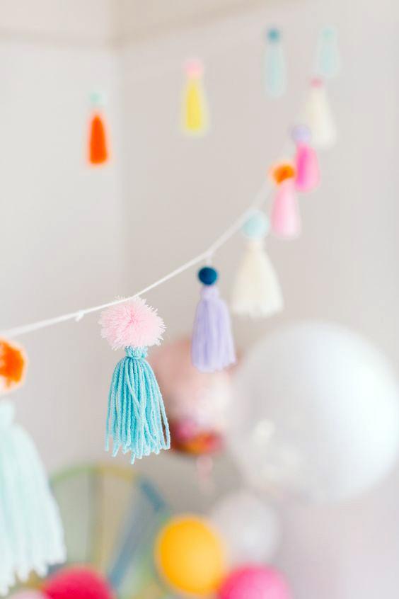 Borlas de lana para decorar fiestas