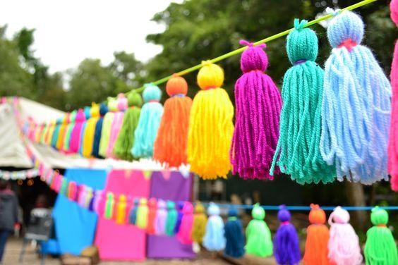 Guirnalda de borlas de lana