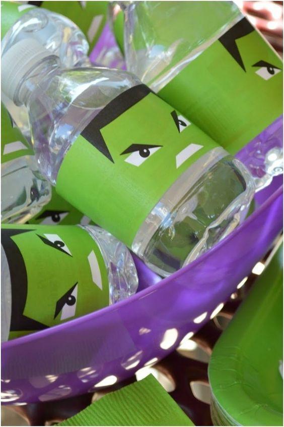 Botellas decoradas de Hulk