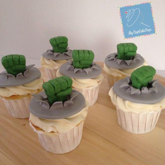 Cupcakes decorados de Hulk