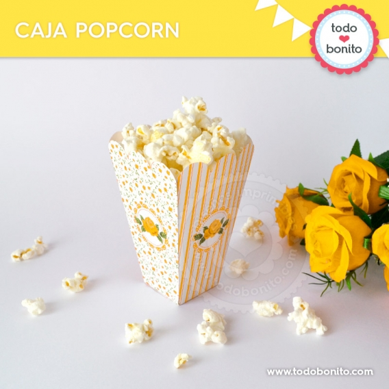 Caja popcorn de kit decoración shabby chic amarillo